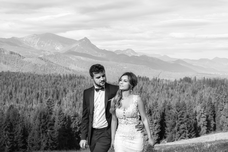 fotografia ślubna i wspólny spacer z widokiem na Tatry Zachodnie i Wysokie