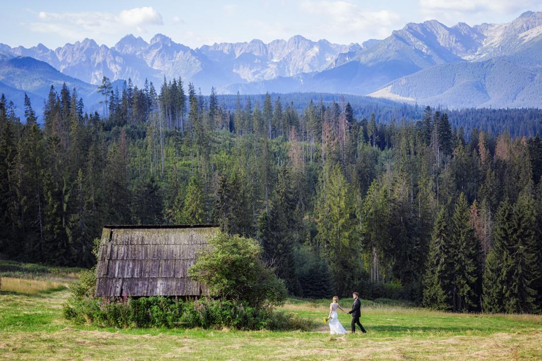 sesja ślubna w górach w miejscu Polana Głodówka