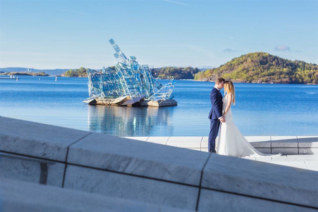 plener ślubny w Oslo Opera