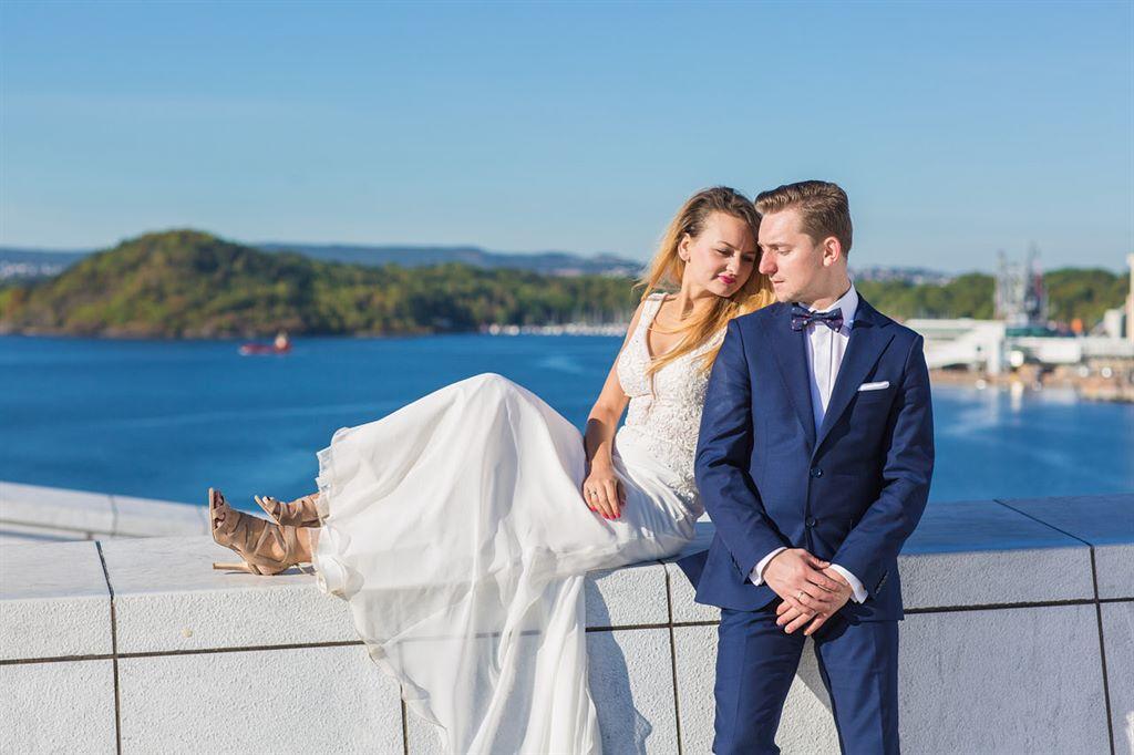 sesja ślubna w Oslo Opera