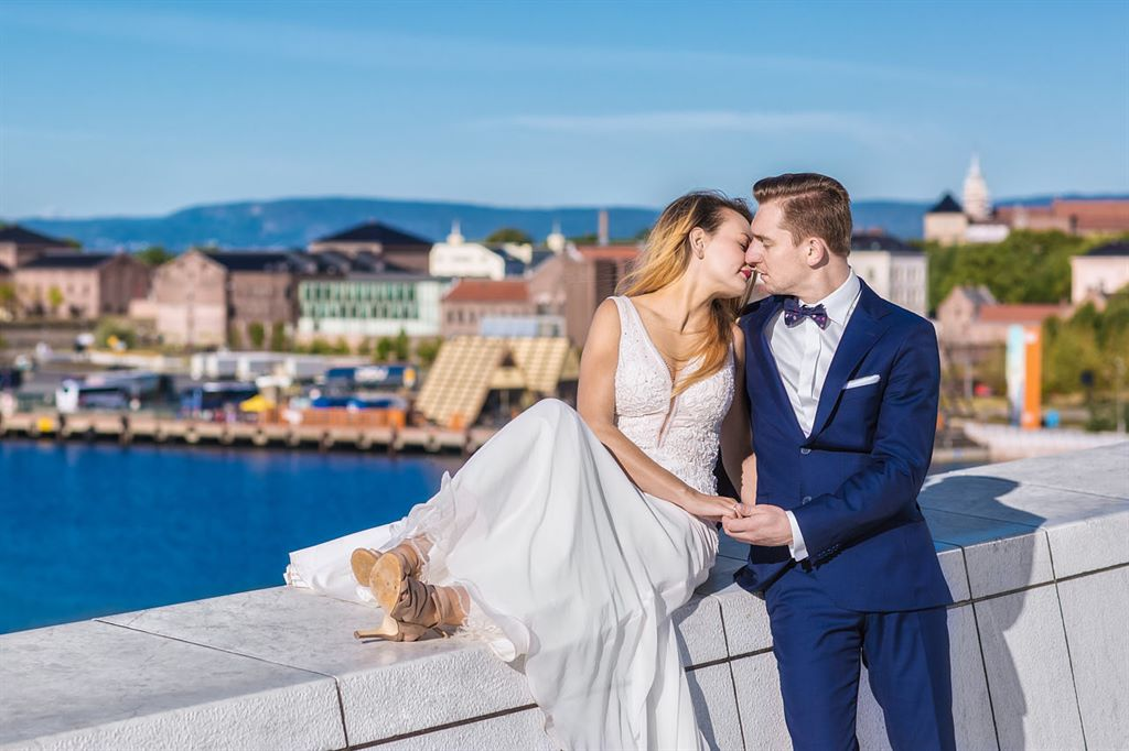 plener ślubny sesja ślubna nad zatoką Oslofjorden