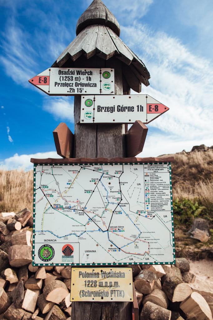 mapa szlaków dla turystów w Bieszczadach